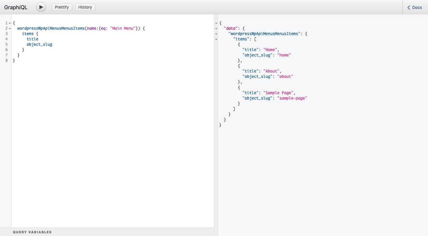 GraphiQL query to get menu items from WordPress