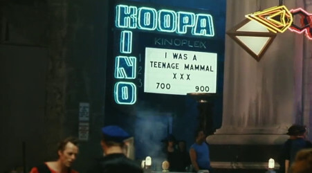 A shot from the Super Mario Bros. movie, showing one of the many jokes for adults