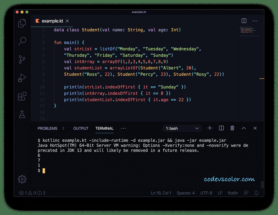 Kotlin indexOfFirst example