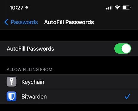 iOS AutoFill Screen