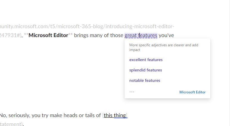 Microsoft Editor in use