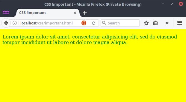 Hasil Kode CSS tanpa !important