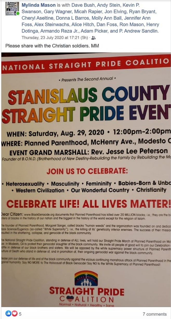 Mylinda Mason's announcement with the flyer for the 'Straight Pride Event.' 'Please share with Christian soldiers,' she says.