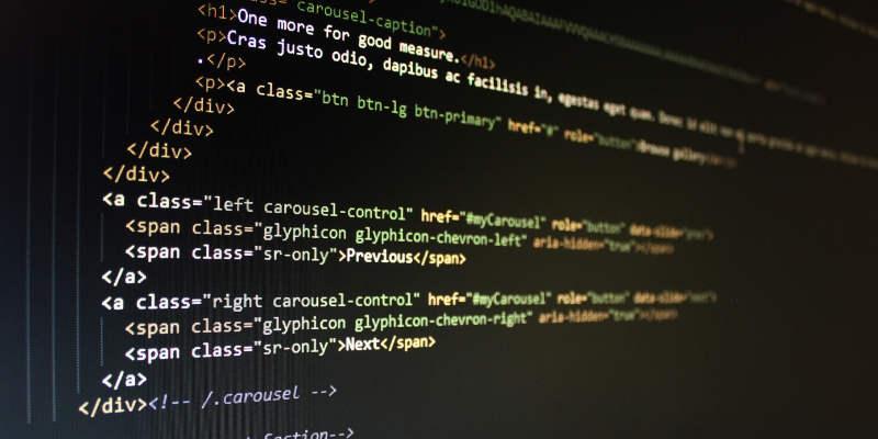 Web developer coding screen