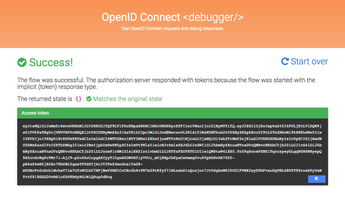 OIDC Debugger returns a token