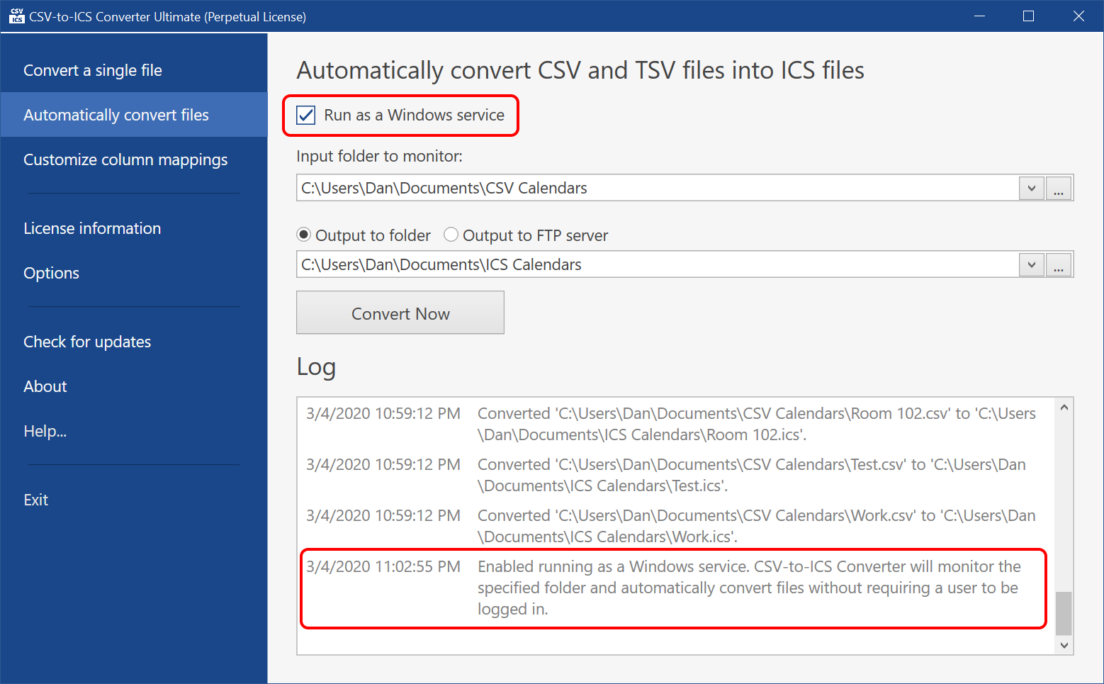 CSV-to-ICS Converter can be configured to run as a Windows service, where it will quietly monitor your CSV files for changes and automatically generate corresponding ICS files.