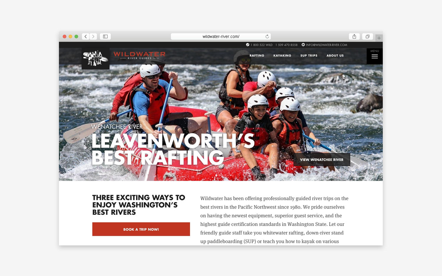 Wildwater River website - desktop view