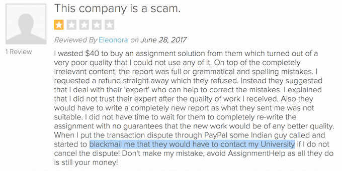 myassignmenthelp.com negative review on reviewopedia.com