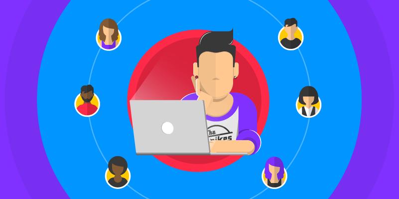 Uma pessoa no centro com um notebook e várias imagens de pessoas em volta representando as personas