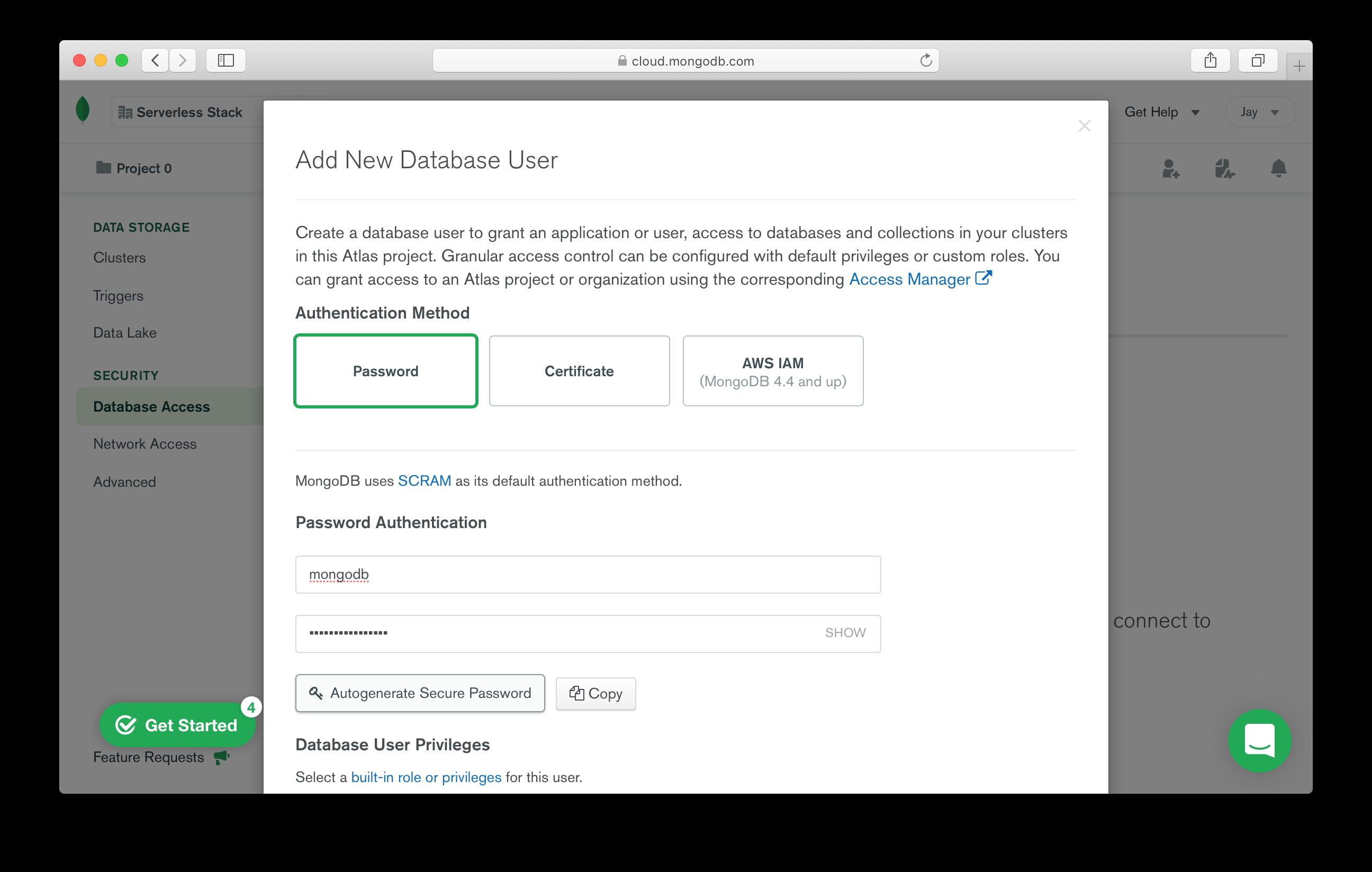 Add new MongoDB database user