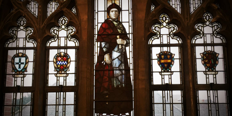 Stained-glass window depicting Thomas Wolsey