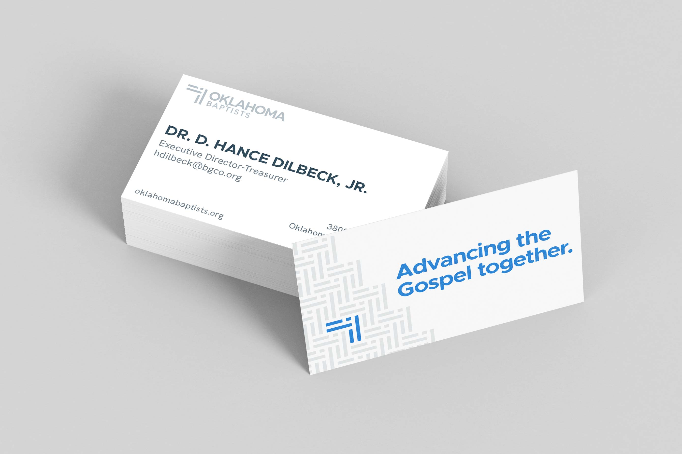 The business cards shared by Oklahoma Baptist Convention employees