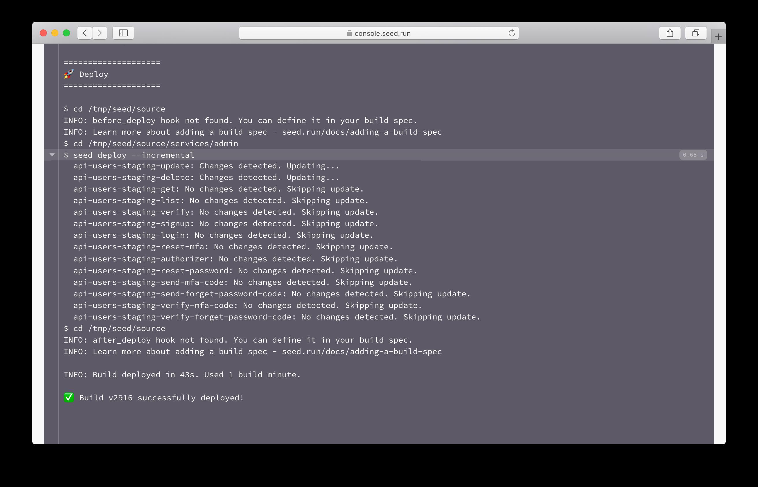 Seed incremental lambda deploy build log