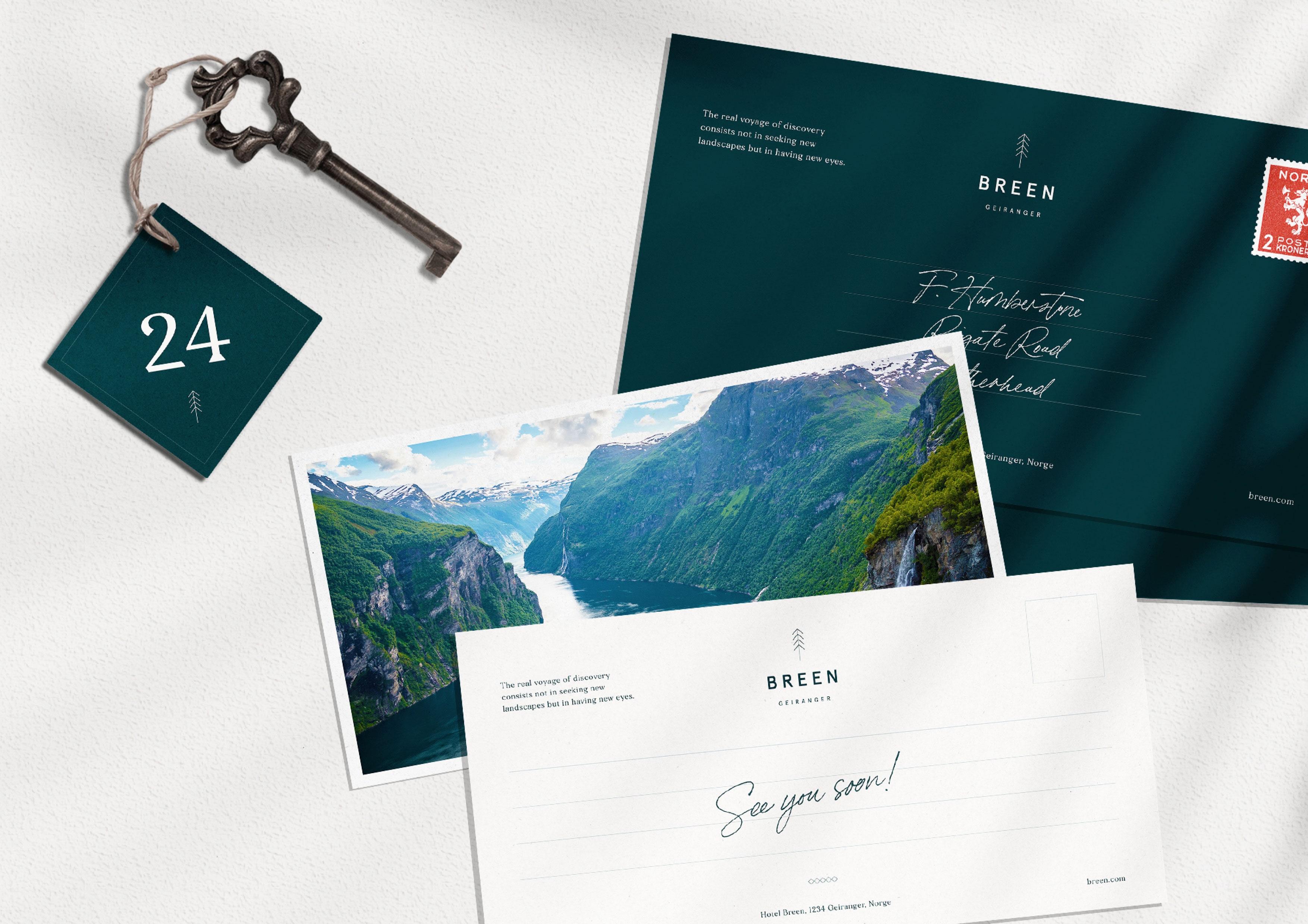 Postcard and envelope design by Jack Watkins for Geirangerfjord hotel, BREEN