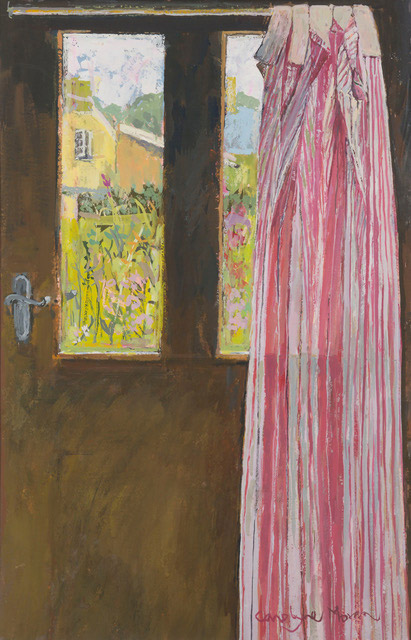The Striped Curtain gouache painting