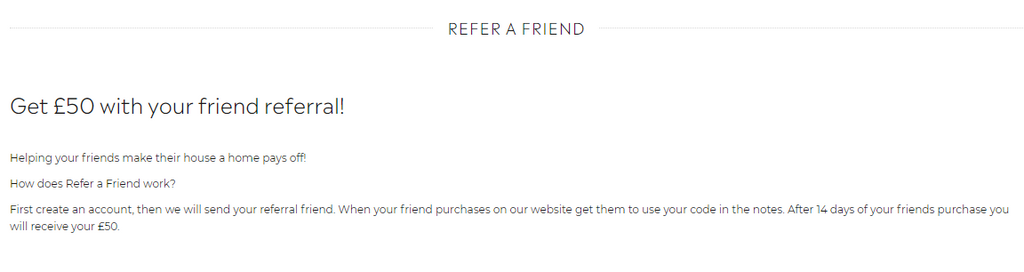 Moy furniture referral program