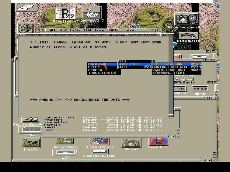 Galaxis running on Amiga