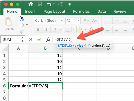 An Excel worksheet with an arrow pointing to the formula bar, where the STDEV.S formula has been entered