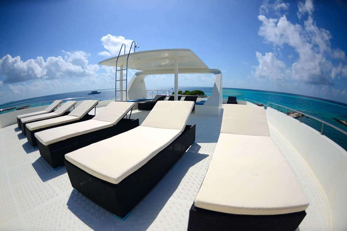 Maldives Explorer Charter Boat for surfing and diving around the atolls sundeck