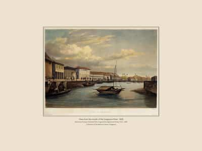 """View from the mouth of the Singapore River"""", Sketch by François-Edmond Pâris and engraved by Sigismond Himley (1835)."""