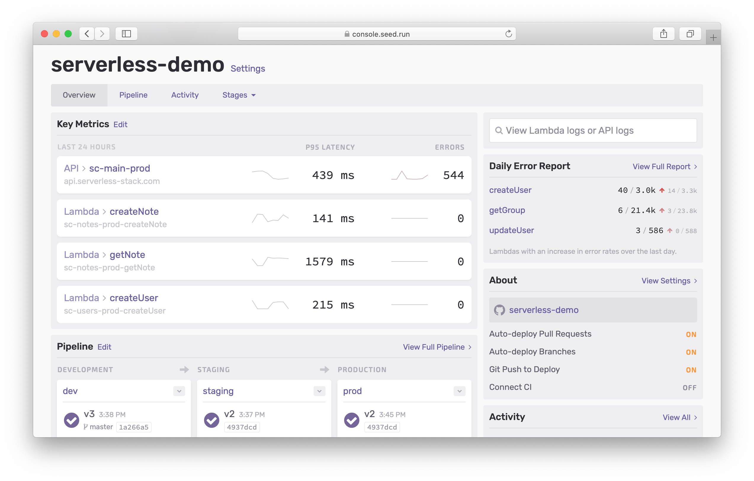 New Seed dashboard