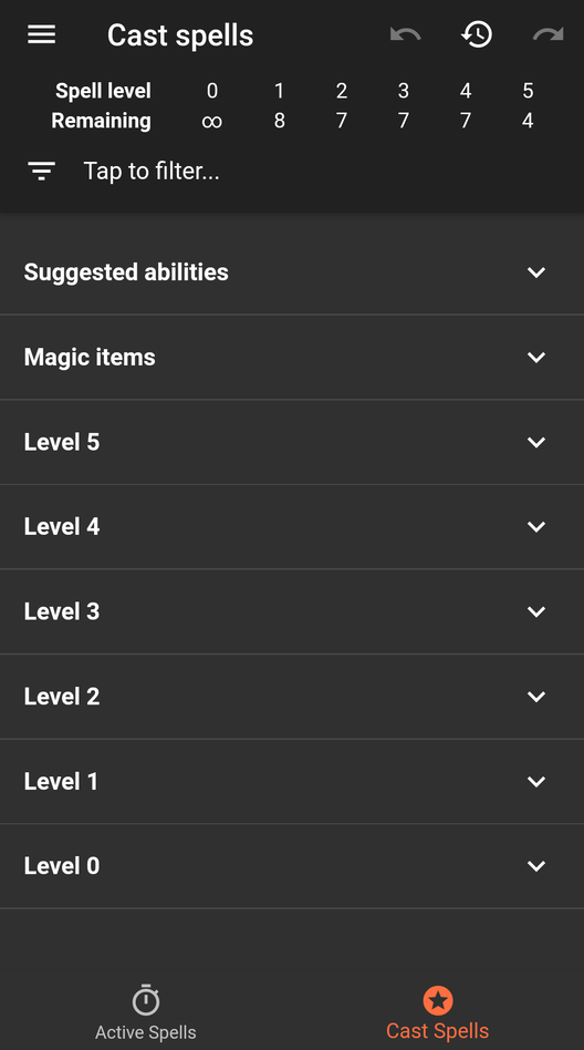 See how many spells are available to cast at each level