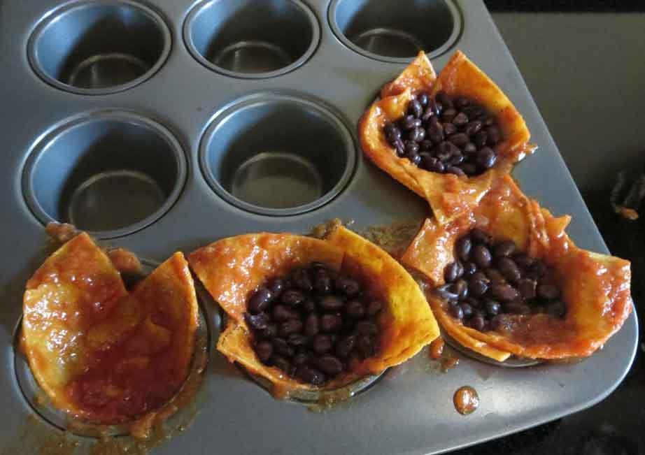 making vegan enchilada mini cakes