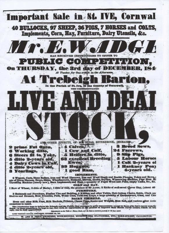 Auction at Trebeigh 1846