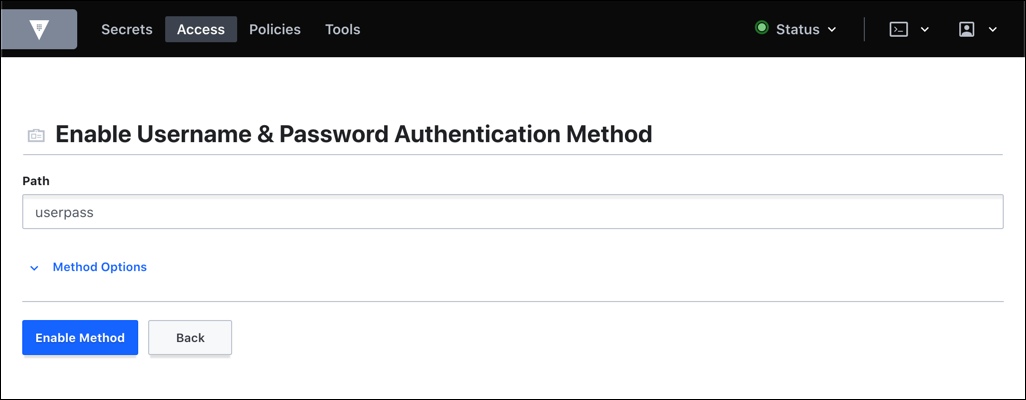 userpass method with default options