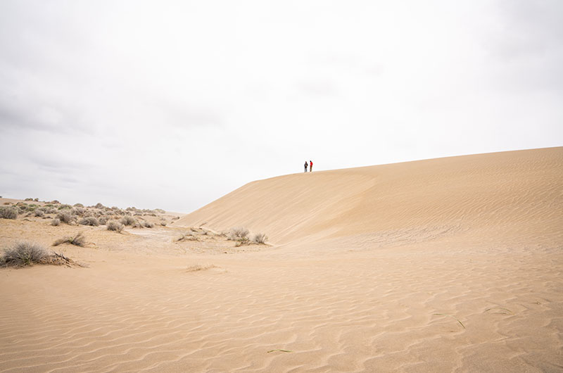 A large sand dune with two men on top of it in the distance