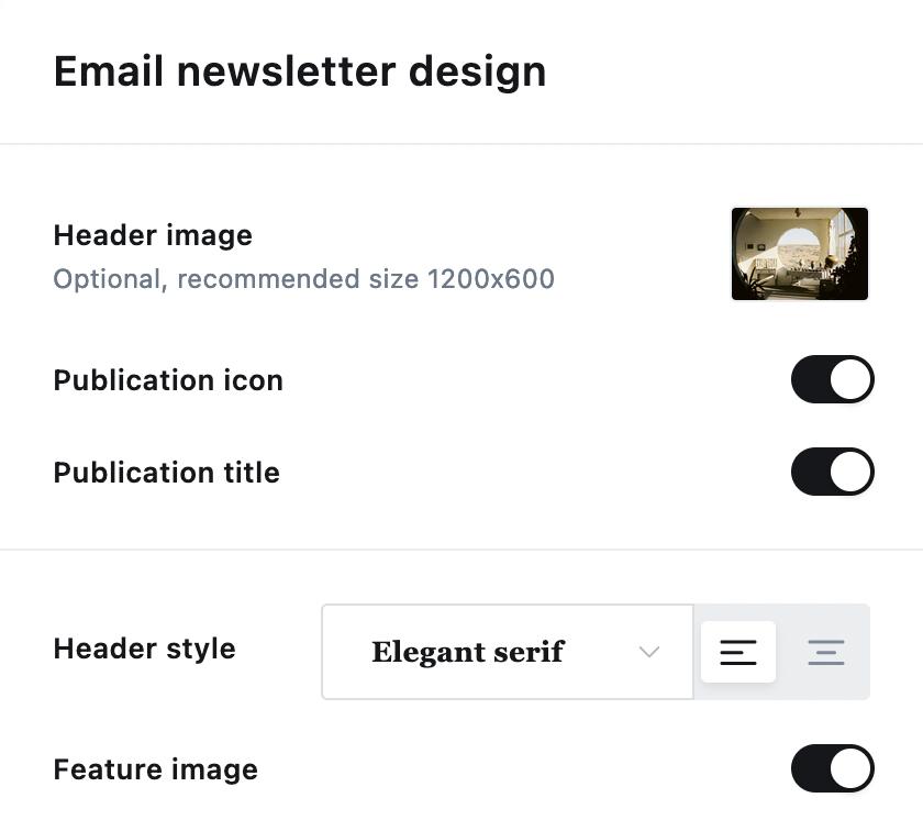 Ghost Email Newsletter New Design Settings