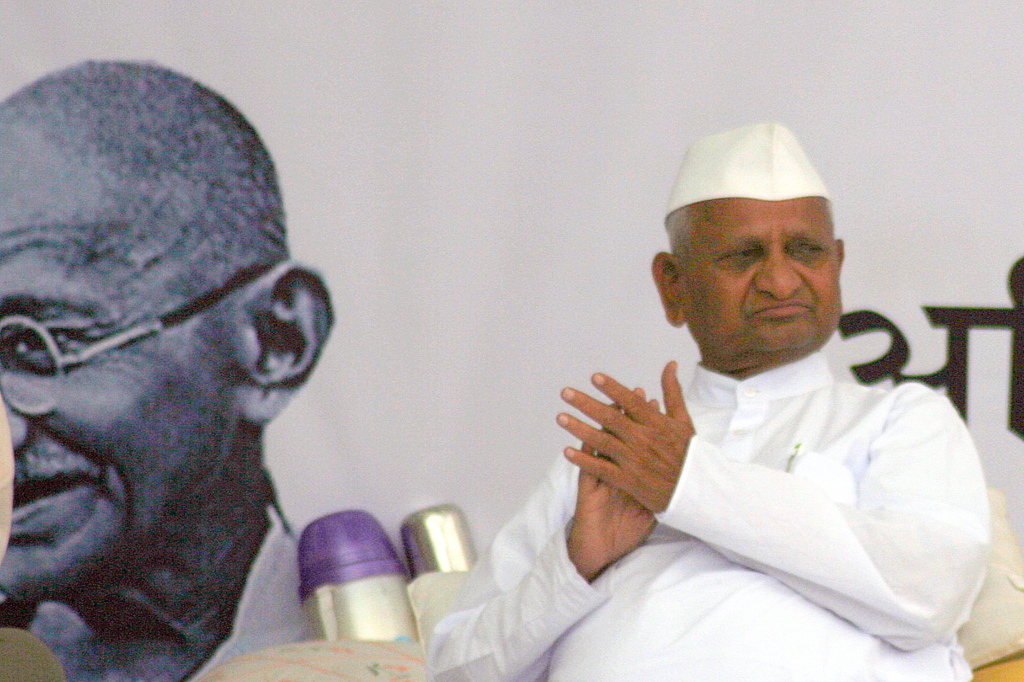 Social activist and Gandhian Mr Anna Hazare.
