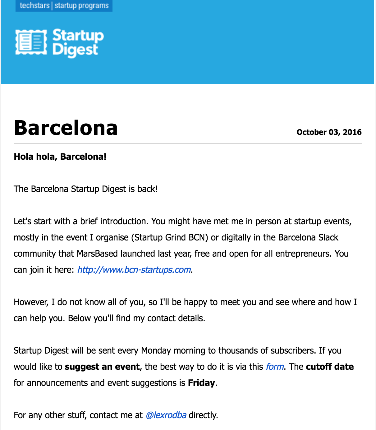 Startup Digest Barcelona first email