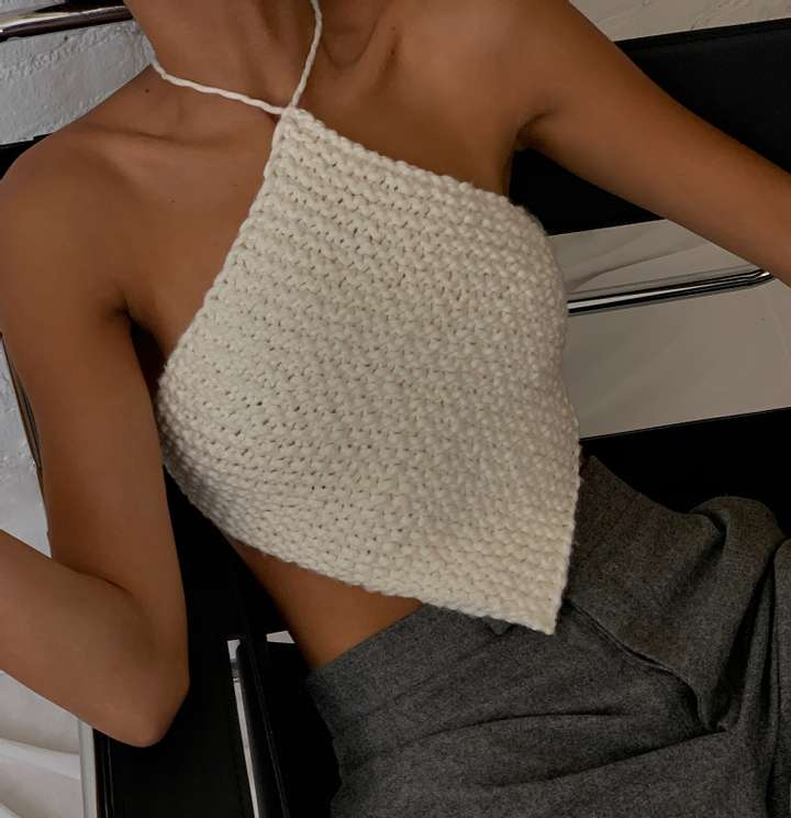 Knitted Halter Neck Top White