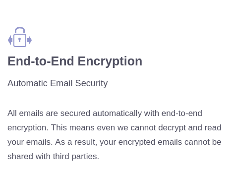 "Screenshot from ProtonMail's front page saying ""All emails are secured automatically with end-to-end encryption"""