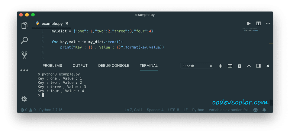 python print dictionary using items method