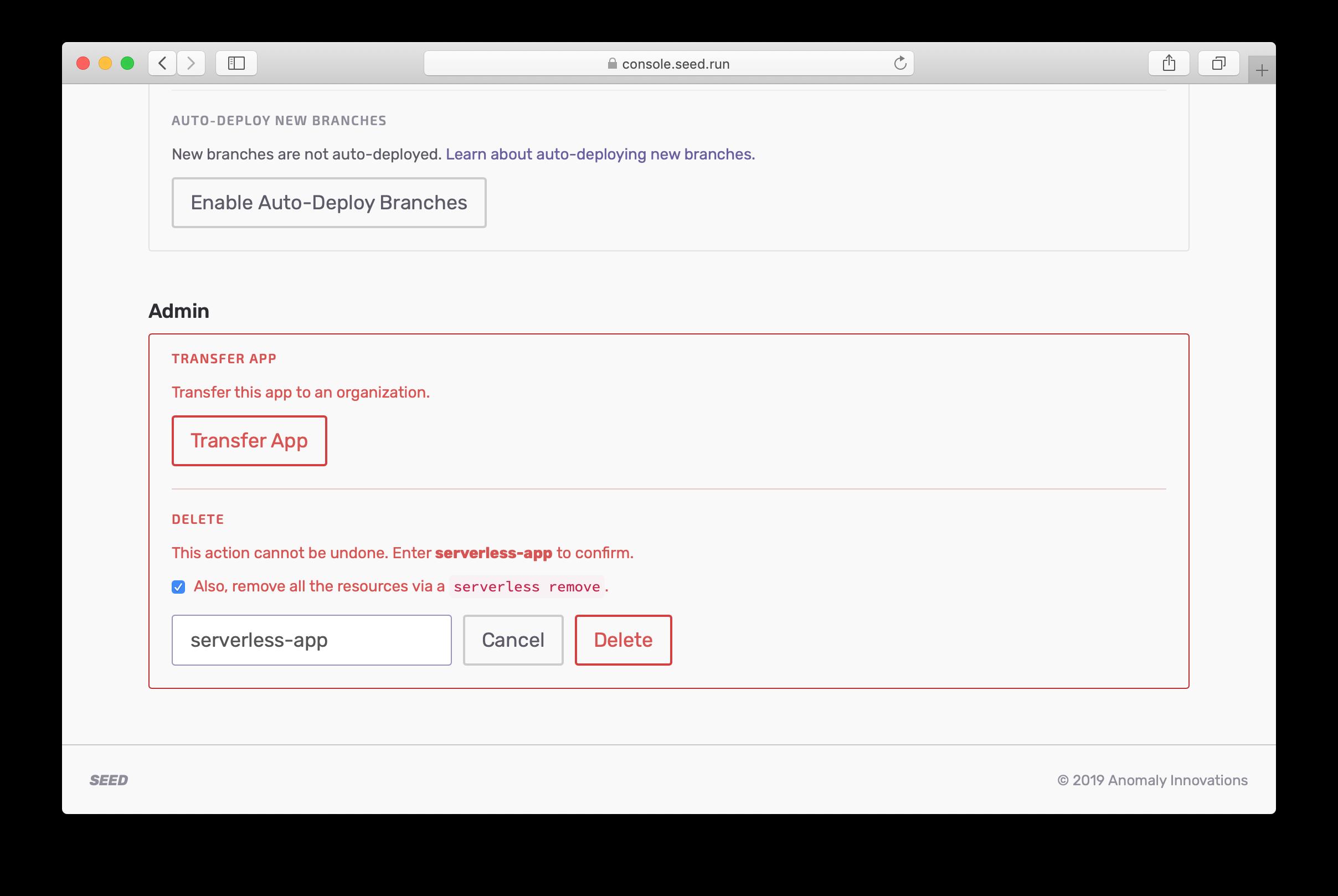 Select delete resources checkbox