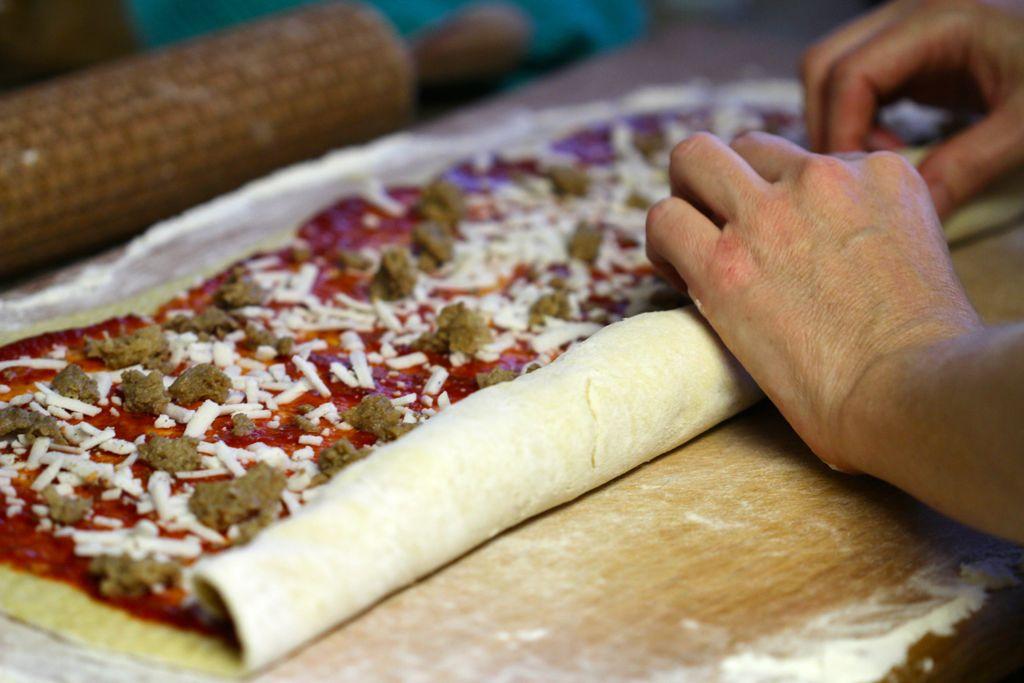 Rolling the vegan Pizza Pinwheels