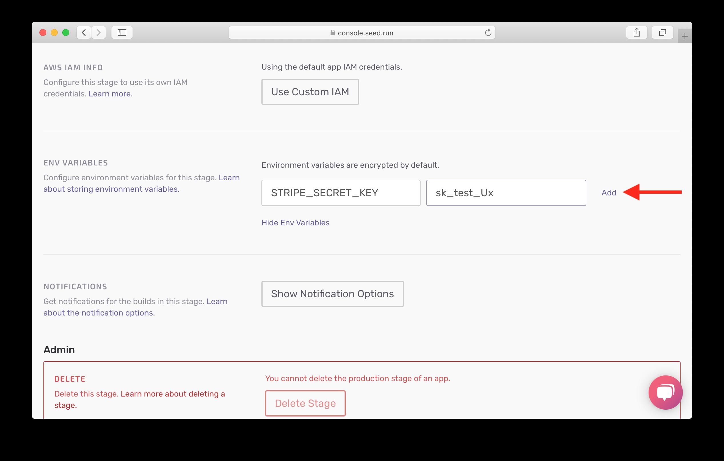Add secret prod environment variable screenshot