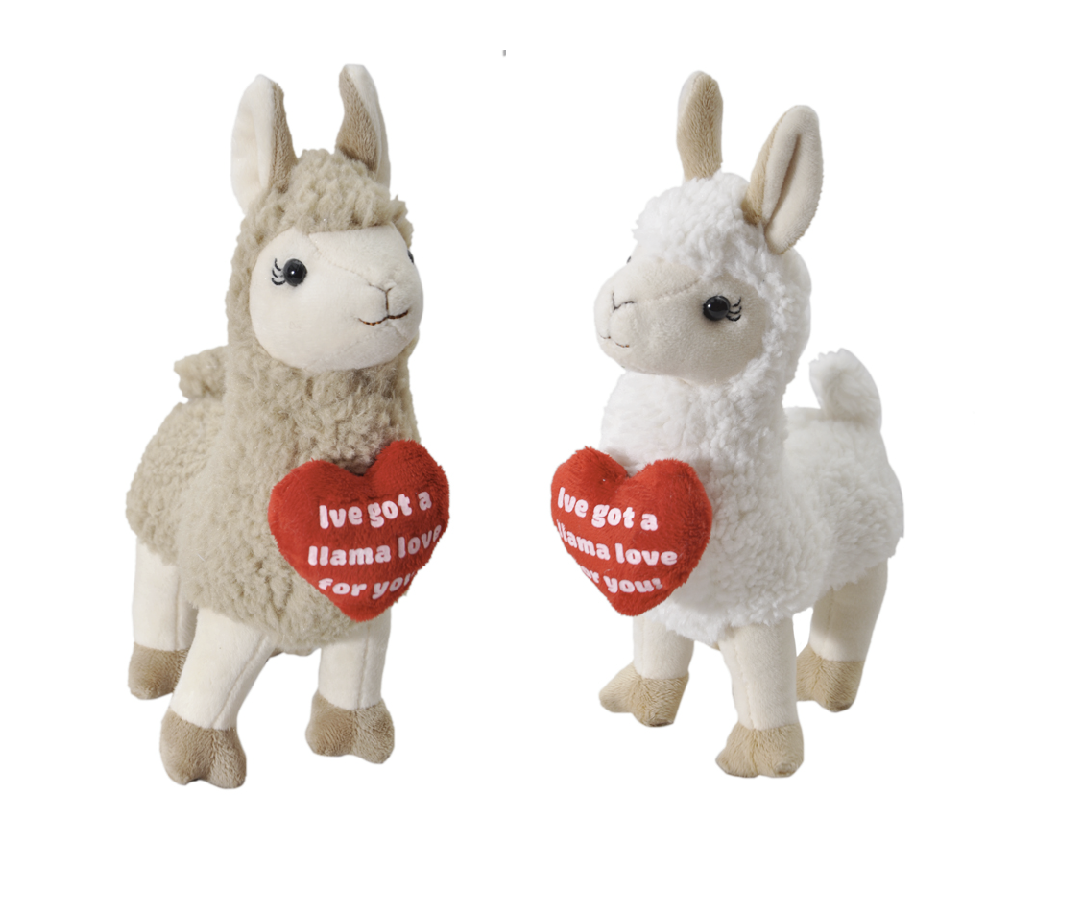 "The Petting Zoo: 9"" Llama & Message Heart Assortment"
