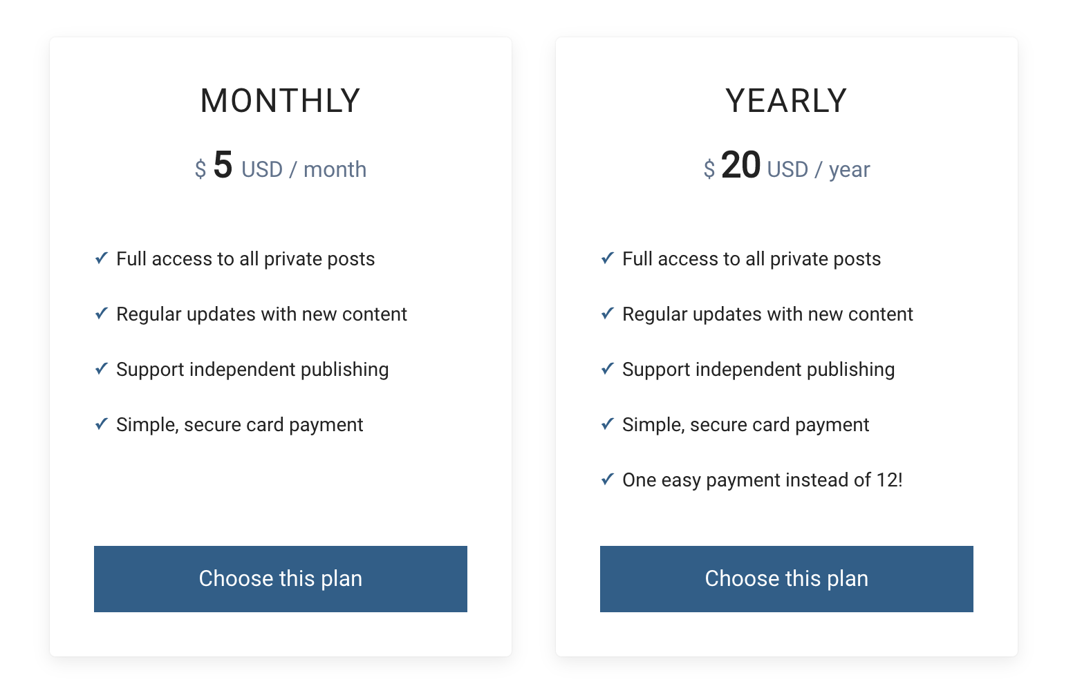 Subscription plans in aspire
