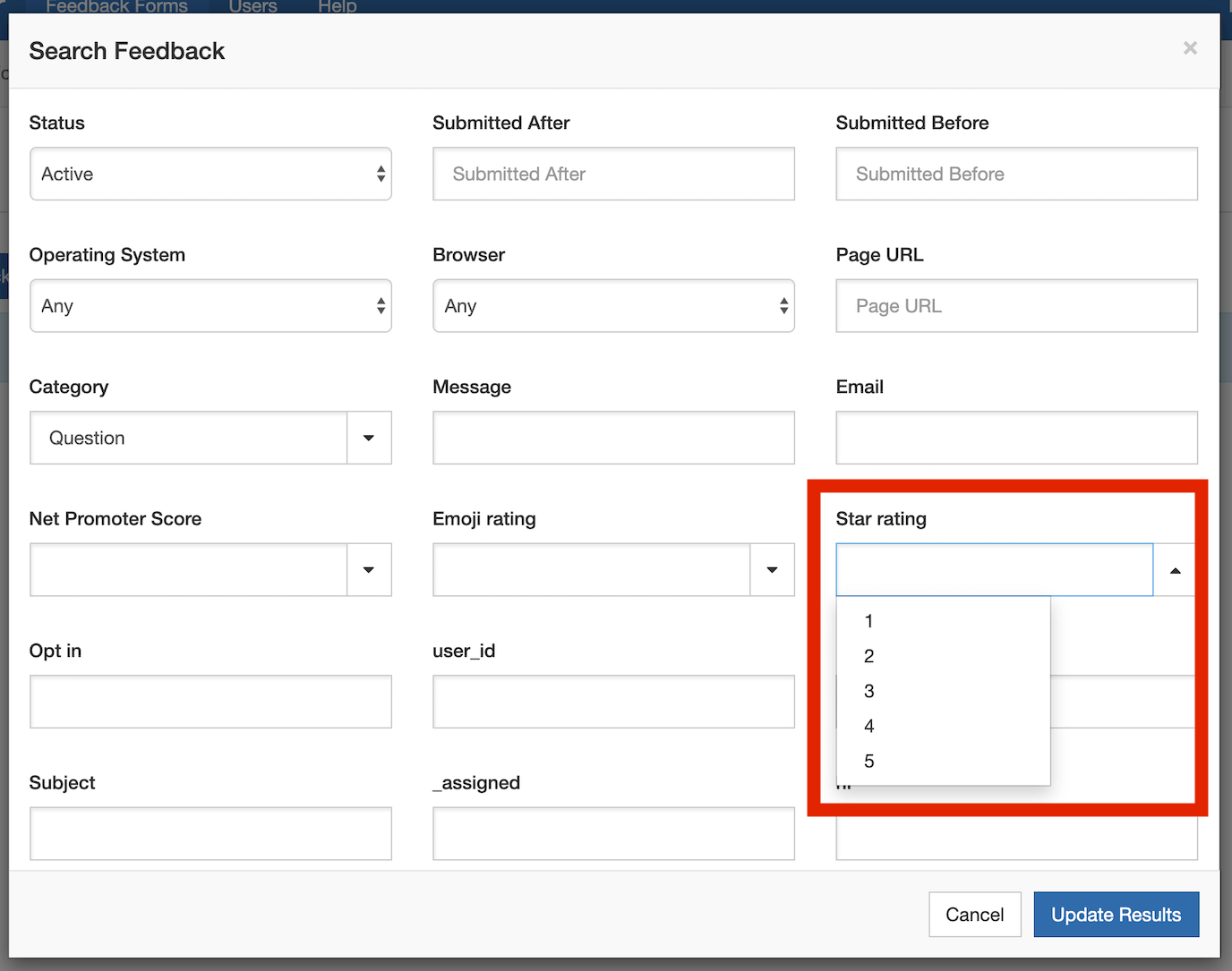 Example of a feedback form with a dropdown category question