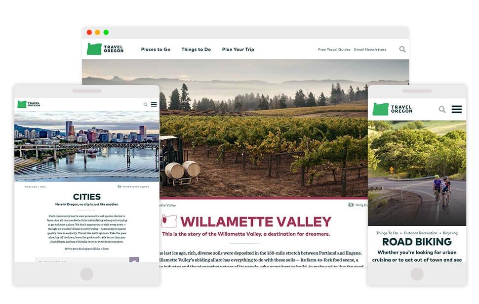 Travel Oregon responsive designs