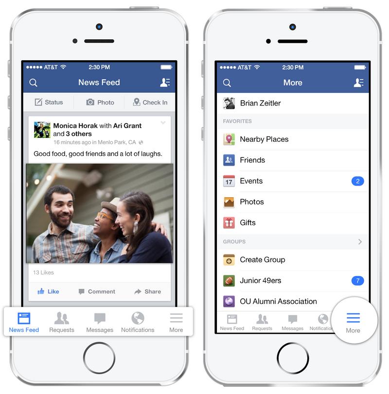 Facebook example - navigation