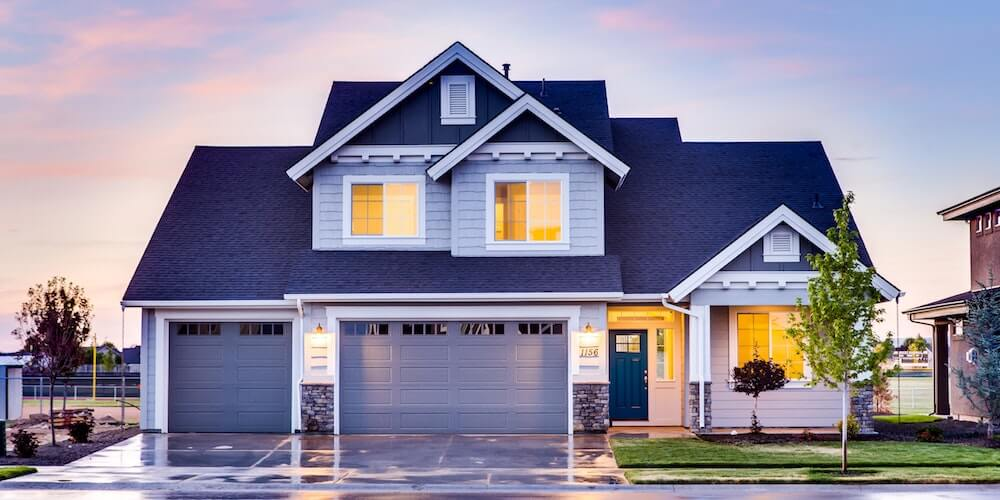 image of new home at dusk