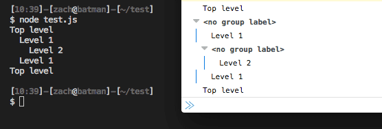 Console Log Grouping Example