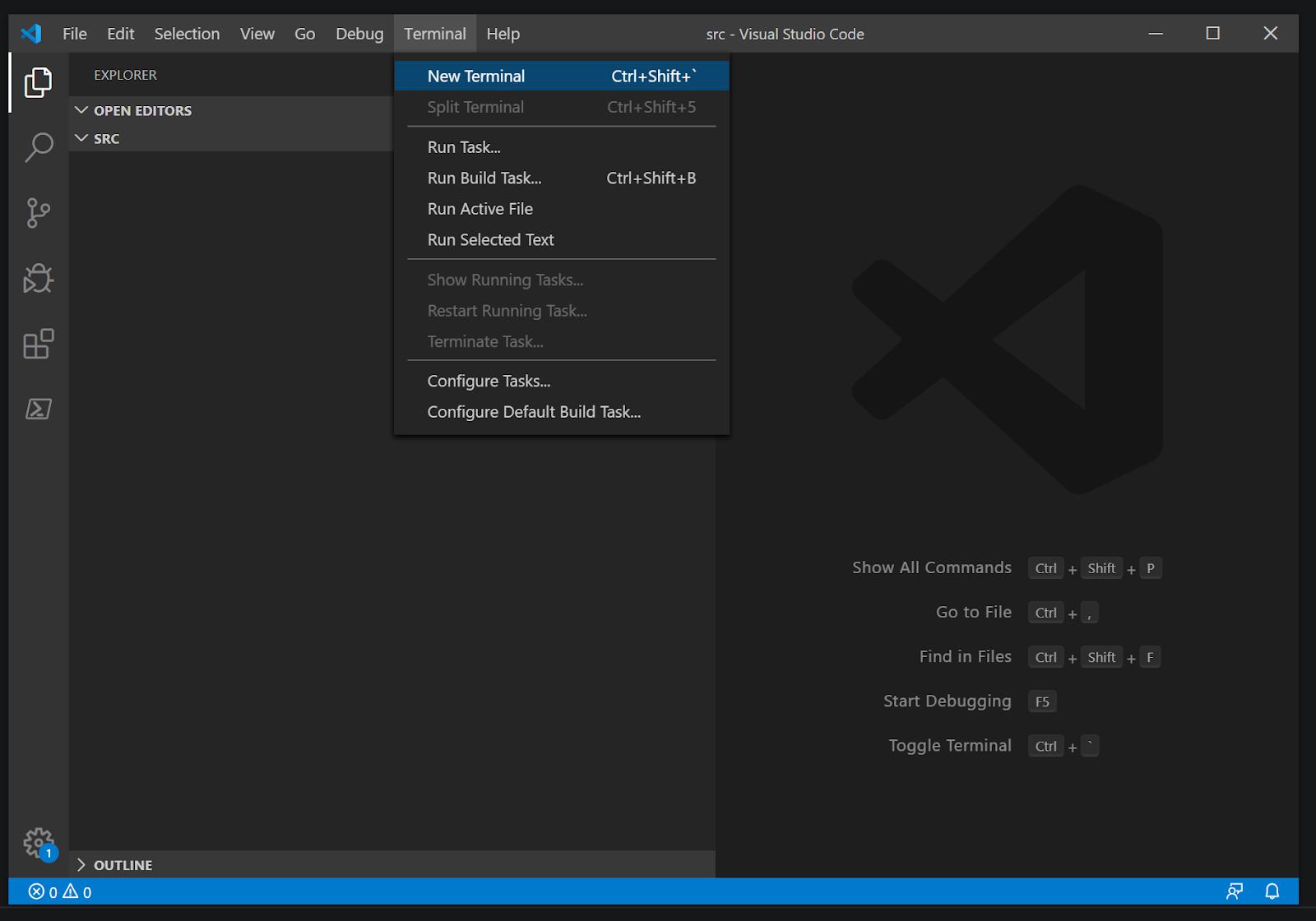 Open new terminal in VS Code