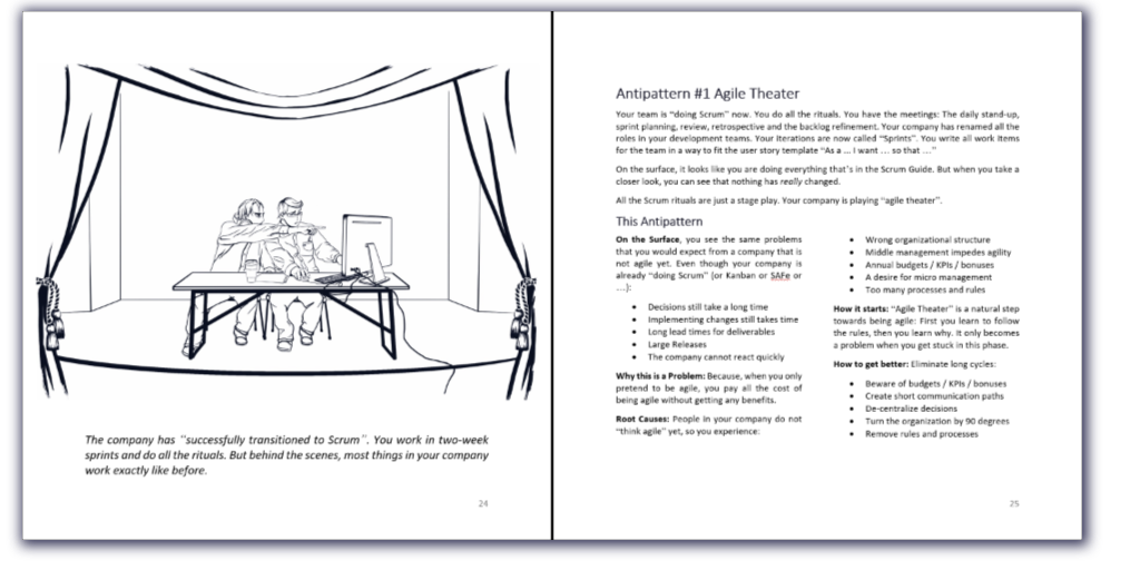 a page from the book about the anti-pattern agile theater