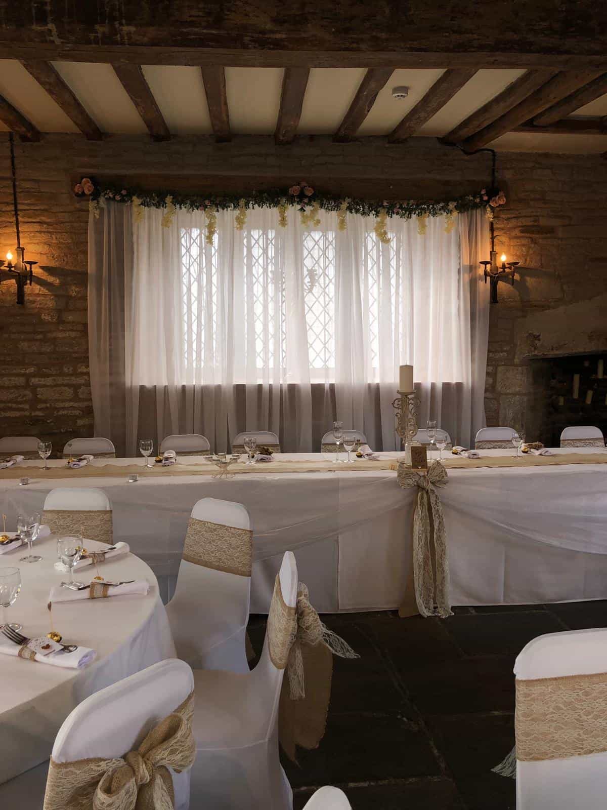 Wedding breakfast top table with white and gold theme