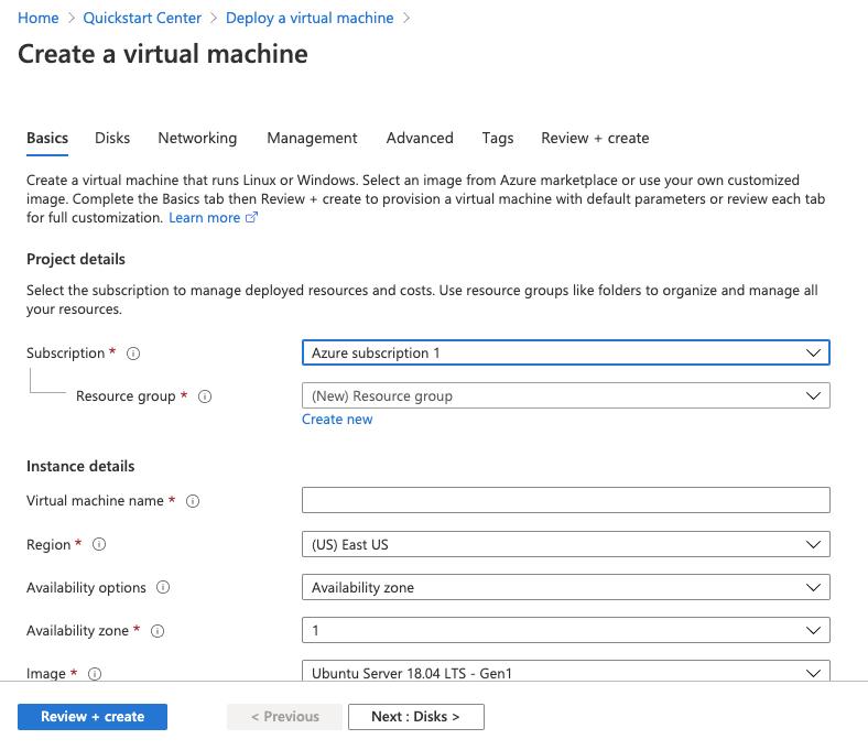 Configuration for VM